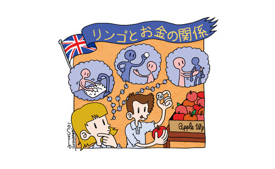 イギリスの学校では、 リンゴでお金を学ぶ。