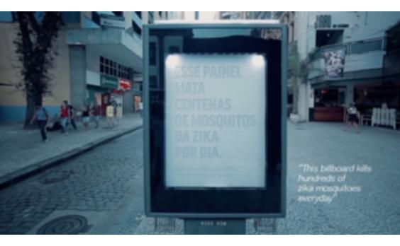 ブラジル発★ポスタースコープが蚊を退治する屋外看板 ジカ熱対策で