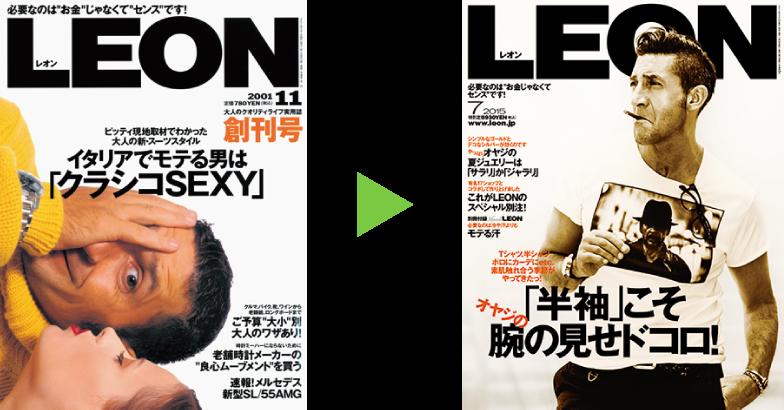 男性ライフスタイル誌『LEON』 (主婦と生活社)創刊号(2001年11月号)  最新号(15 年7 月号)