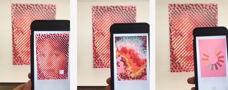 ARの技術でiPhoneやiPadをかざすと動画が再生される。