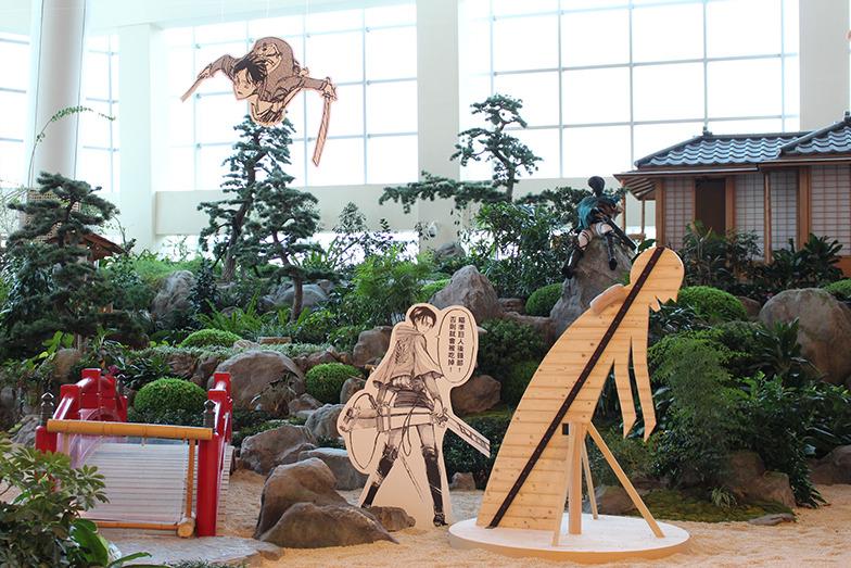 館内の日本庭園は、調査兵団訓練所に