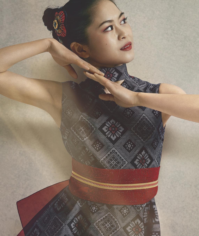 大島紬を着たフィギュア女王