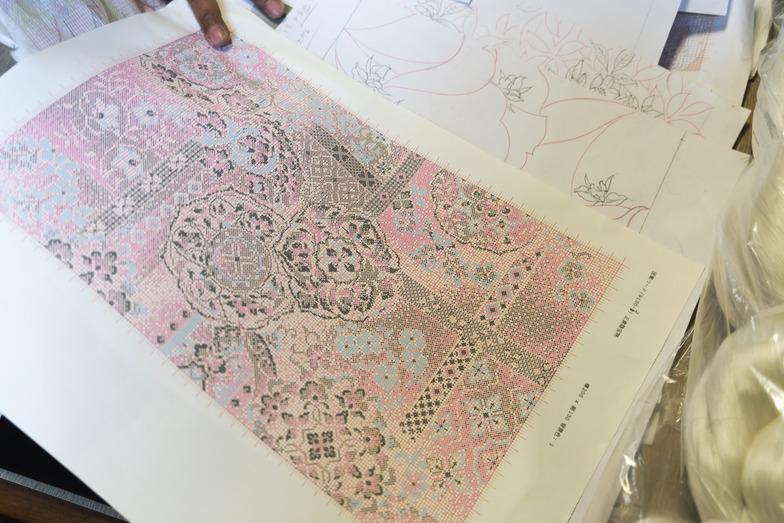 図案と設計図。1本のタテ糸と1本のヨコ糸が重なってこの1マスとなる