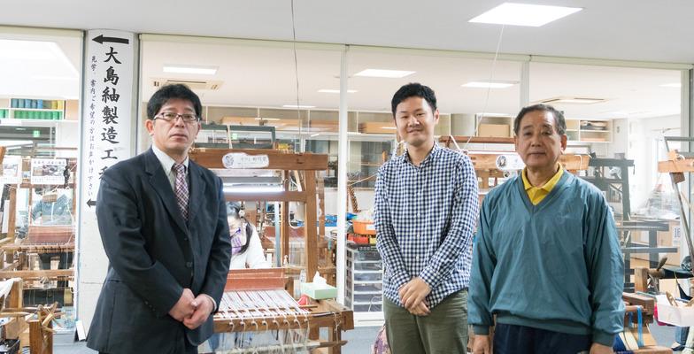 今回全面的に協力してくださった南海日日新聞社の前里さん(左)と「夢おりの郷」の南さん(右)