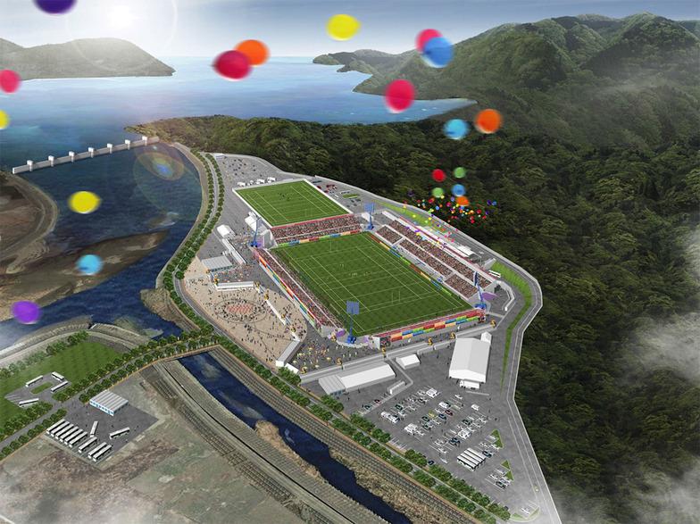 ラグビーワールドカップ2019の会場の一つとなる岩手県「釜石鵜住居復興スタジアム」(仮称)の完成予想図。現在は更地となっている、被災した釜石東中と鵜住居小の跡地に建設される。鵜住居は今後のまちづくりの中心になる地域。津波を語り継ぐとともに、新しい釜石の文化がスタートする場所として期待が寄せられている。
