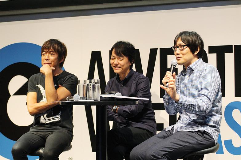 左から、山崎隆明さん(代表作:リクルート ホットペッパー「アフレコ」、サントリー「細マッチョ」など)、澤本嘉光さん(代表作:ソフトバンクモバイル「ホワイト家族」、東京ガス「ガス・パッ・ チョ!」など)、福里真一さん(富士フイルム「フジカラーのお店」、サントリーBOSS「宇宙人ジョーンズ」など)