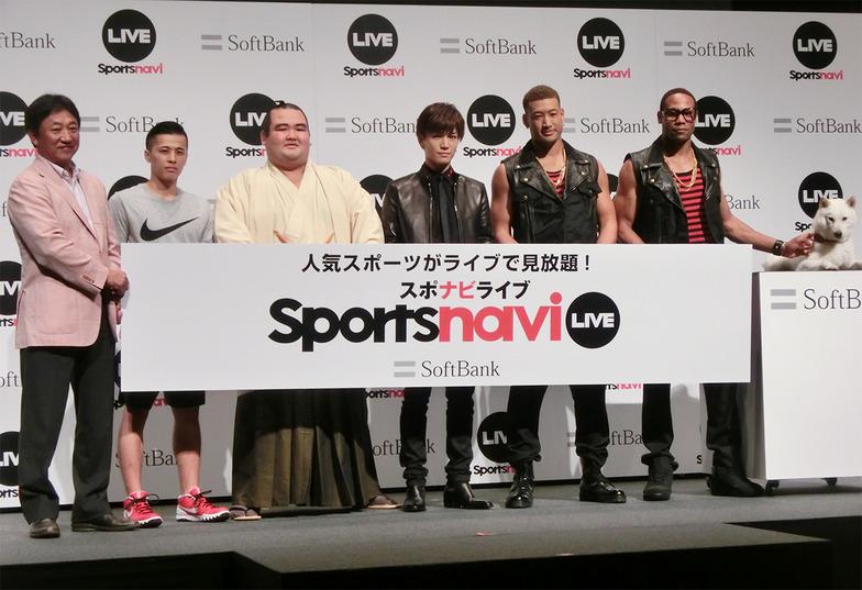 左から田尾さん、富樫選手、琴奨菊関も登場。岩田さん、関口さん、ダンテさん、「お父さん」とスポナビライブをアピール
