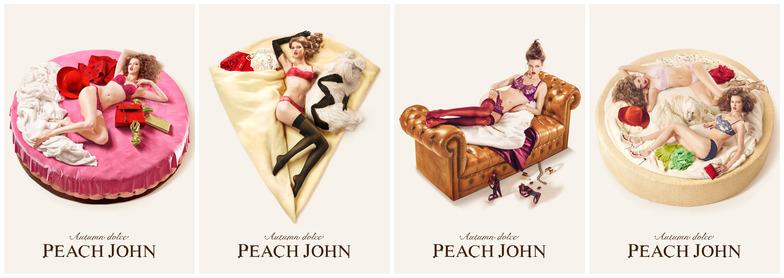 「PEACH JOHN」秋の広告。「AUTUMN DOLCE」をテーマにPEACH JOHNの下着を身に着けて、部屋でくつろぐ女性を12個のドルチェに見立てて表現している。