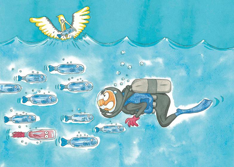 本田氏の描いた「ポリフィッシュの大群」。近来、太平洋にごみベルトが拡大。2009年からの4年間で海を漂うプラスチックごみの量は100倍に増えたという