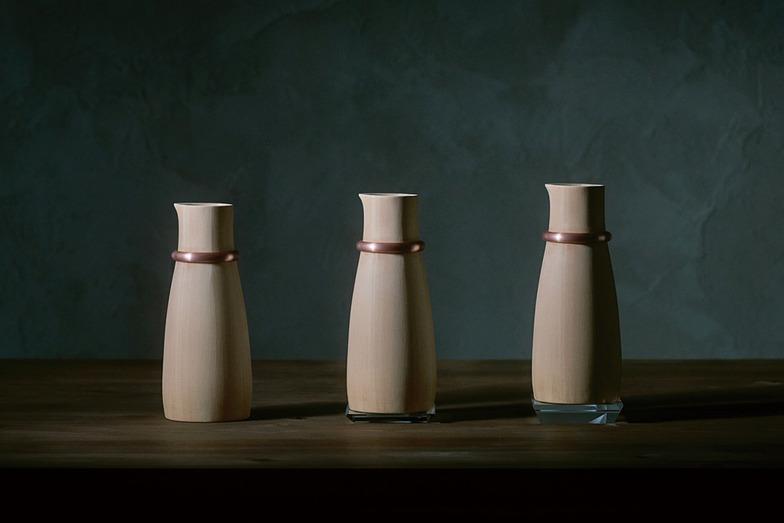 燗酒器/桶の制作技法で作られたIH対応の木製かんどっくり