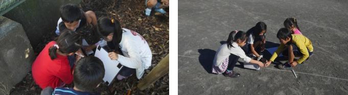 はしゃぎながら学校中の日なたと日陰を調べはじめる子どもたち。