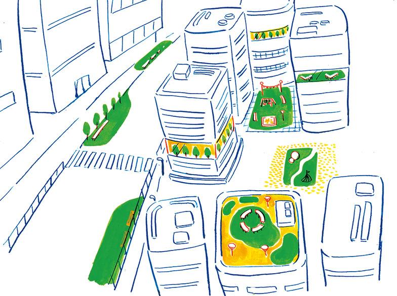 〜こんな街ってオモシロイかも〜 街中の空きスペースを、小さな公園に。 街中に公園が広がって、街全体が一つのPARKになる