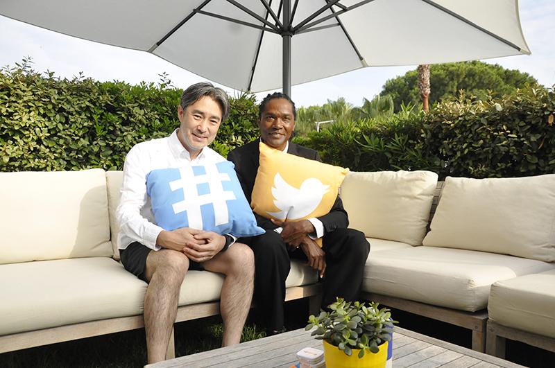 電通のクリエーティブディレクター阿部光史さん(左)、Twitter社のグローバルグループクリエーティブディレクター ジャヤンタ・ジェンキンスさん