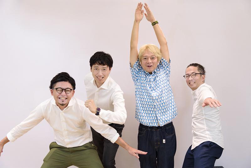 (左から)イノラボの阿部元貴さん、野崎和久さん、デイリーポータルZの林雄司編集長、住正徳書記係