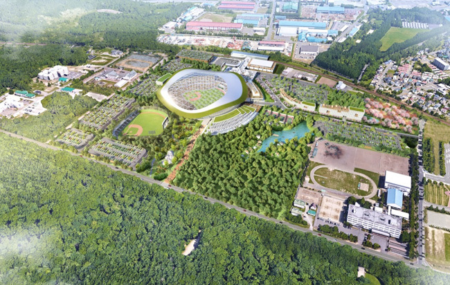 北広島市に建設を予定するボールパークのイメージ図