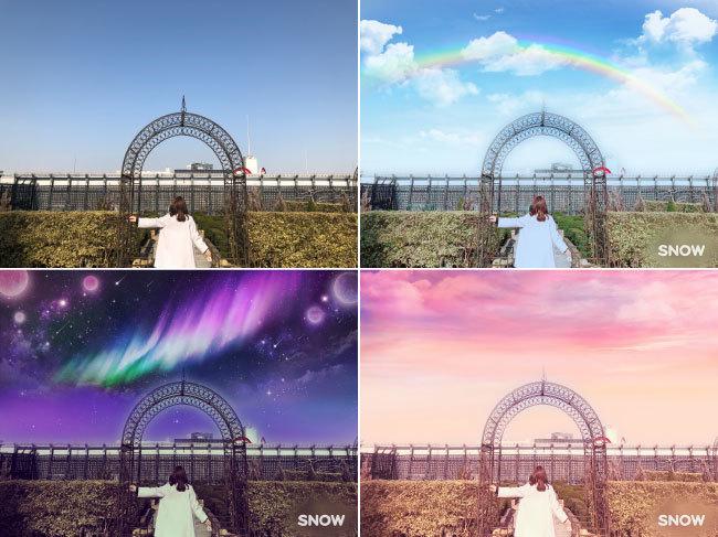 左上は、元画像、その他はARスタンプの画像(空を自動的に認識し、風景を一変させることができる「空フィルター」)