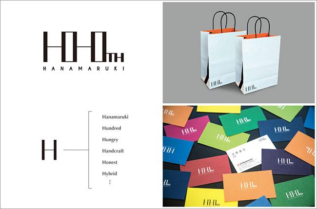 ハナマルキ100周年記念ロゴ/ツールのデザイン
