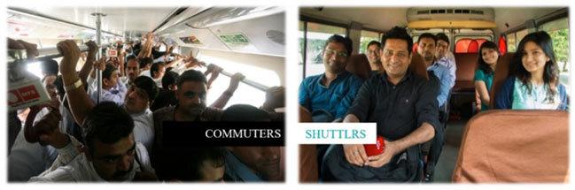 一般のバスサービス(左)とスーパーハイウェイラボ社のバスサービス(右)