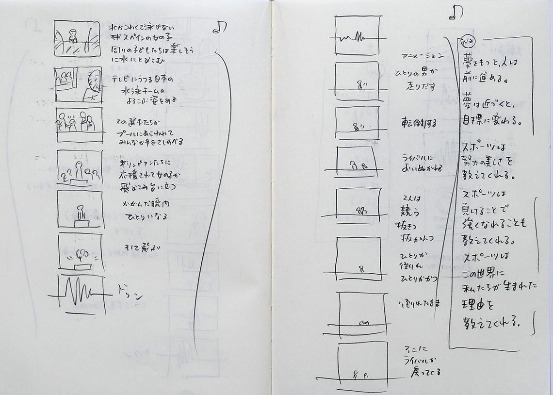 髙崎氏はいつもノートを持ち歩き、アイデアなどを書きとめていく。その数すでに数十冊。その中に2020年東京オリンピック・パラリンピック招致活動映像の絵コンテも。最終プレゼンで映像となって多くの人の感動と共感を呼んだ。