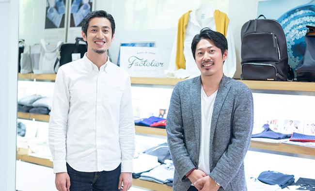 (左から)山田敏夫社長(ファクトリエ)、吉川隼太氏