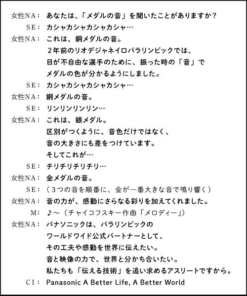 ラジオ広告部門  パナソニック「メダルの音」編