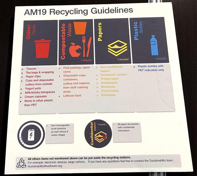 今年の年次総会のリサイクルガイドラインの表示
