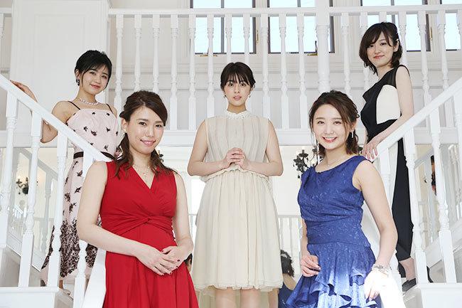 ©フジテレビ 左から出演者の小池美由さん、紺野ぶるまさん、柳ゆり菜さん、おのののかさん、大後寿々花さん