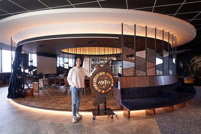 「GREAT VOYAGE」をコンセプトにしたVOYAGE GROUP新オフィスは、さまざまなスペースに「AJITO」「BEACH」といった航海にまつわる名前が付けられている。