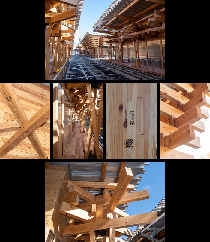 施設内側/施設構造/廊下/岩手産木材/木組み構造