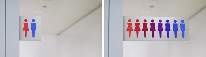 トイレのピクトグラムの違いをなめらかに