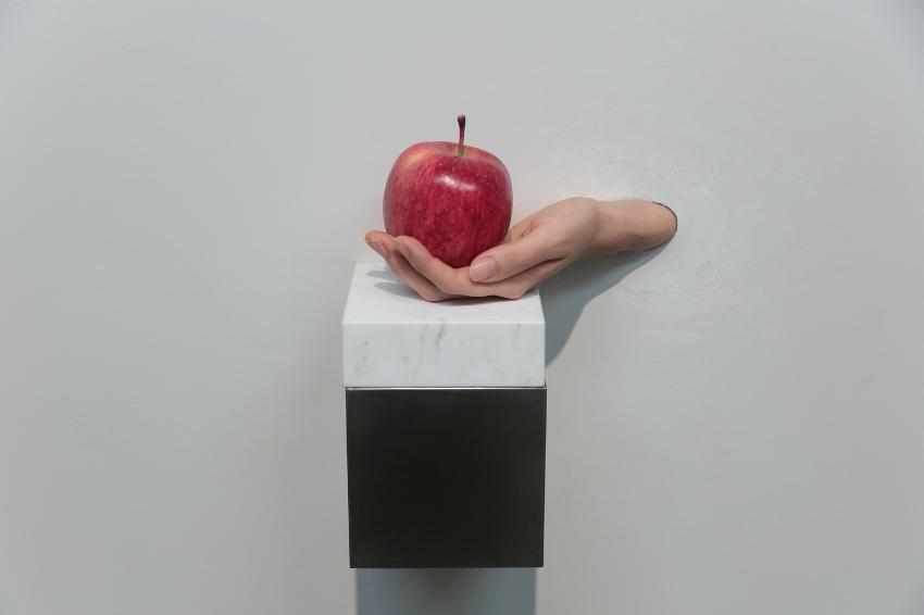 """雨宮庸介 """"Apple and Hand"""" 2018, 個展「あ、あな、あなた」@ARTS ISOZAKI より"""
