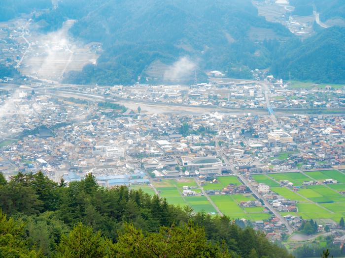 安峰山から展望した飛騨古川のまち
