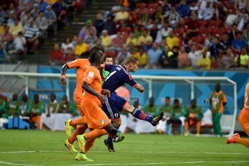 サッカーのワールドカップ(W杯)ブラジル大会_コートジボワール戦_本田圭佑のゴールで先制