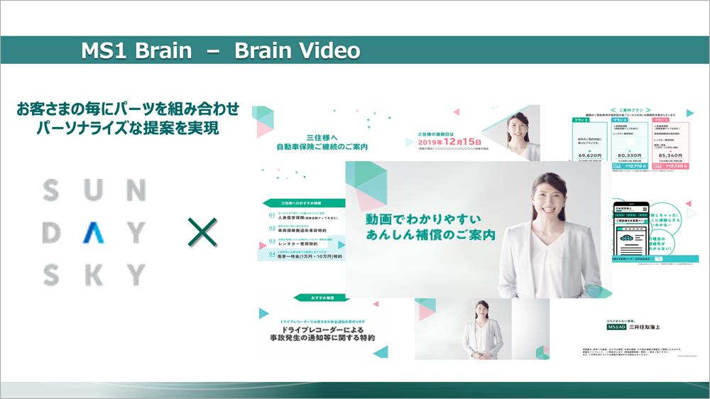 パーソナライズド動画「Brain Video」を活用。「MS1 Brain」のAI分析によって導き出された保険契約者一人ひとりに合った最適なプランを、動画で分かりやすく提案できる。その最大の特長は、パーソナライゼーションのための「時間」と「コスト」を最小化できることだ。