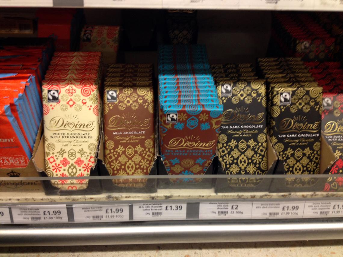 ロンドンのスーパーで見つけたフェアトレードチョコ