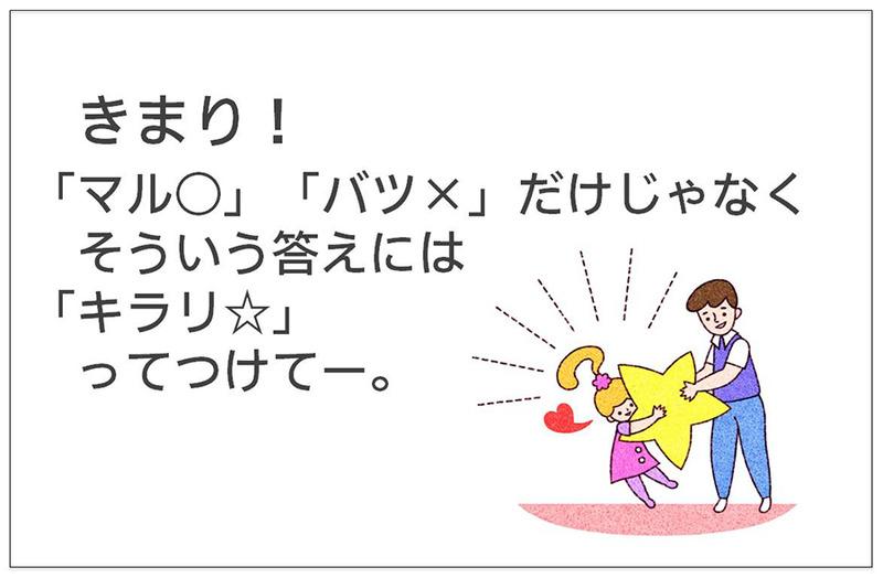 きまり! 「マル○」「バツ×」だけじゃなく そういう答えには 「キラリ☆」ってつけてー。