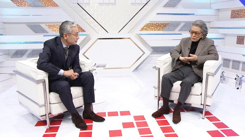 作家・五木寛之氏と(2013年12月、「久米宏のニッポン百年物語」)