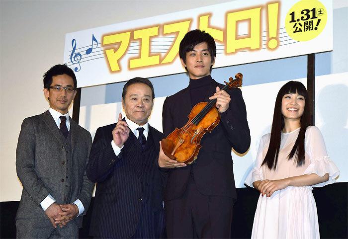 (左から)小林監督、西田敏行、松坂桃李、miwa