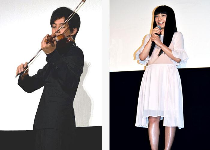 バイオリンを演奏する松坂桃李、miwa