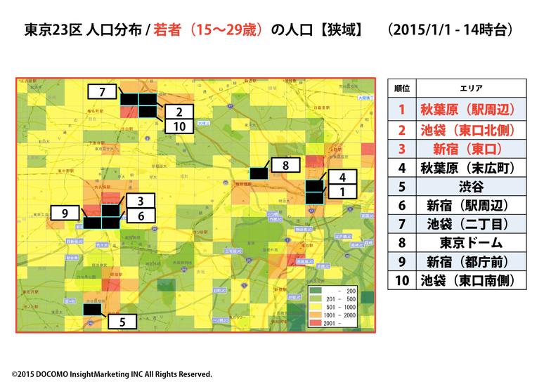 東京23区人口分布/若者(15~29歳)の人口(狭域)