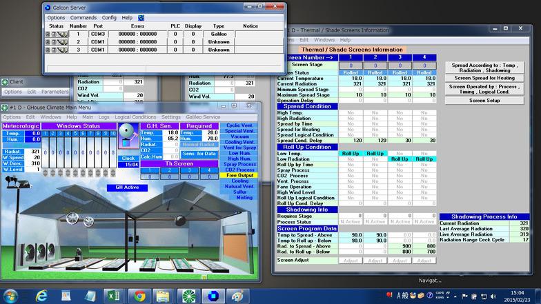 植物工場の環境制御装置の操作画面